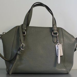 Olive Green Pebbled Leather Coach Kelsey Satchel